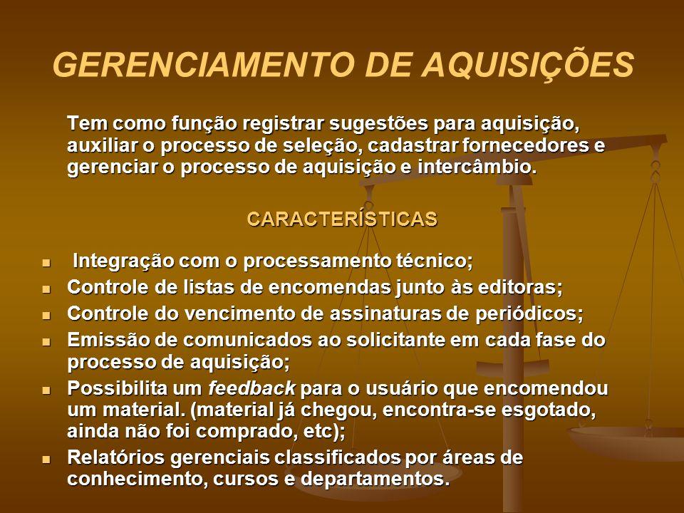 GERENCIAMENTO DE AQUISIÇÕES