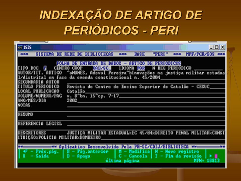 INDEXAÇÃO DE ARTIGO DE PERIÓDICOS - PERI