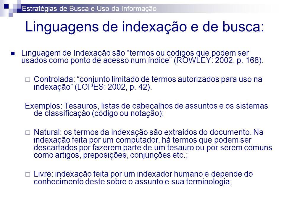 Linguagens de indexação e de busca: