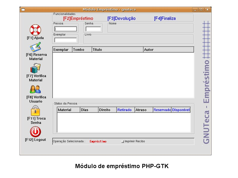 Módulo de empréstimo PHP-GTK