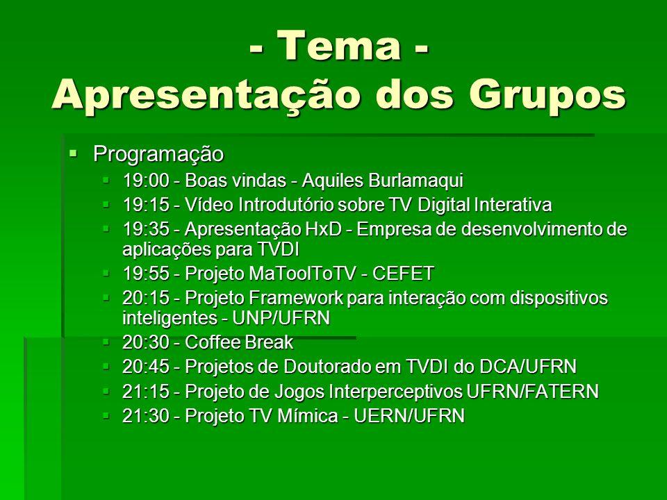 - Tema - Apresentação dos Grupos
