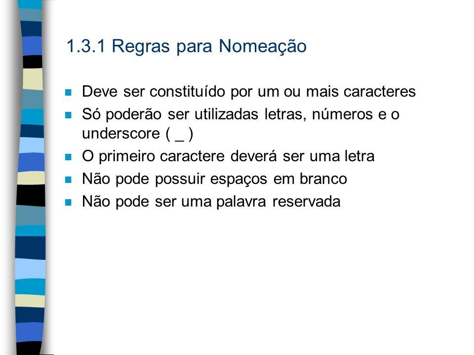 1.3.1 Regras para NomeaçãoDeve ser constituído por um ou mais caracteres. Só poderão ser utilizadas letras, números e o underscore ( _ )