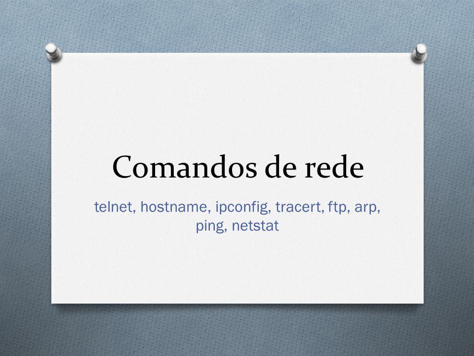 telnet, hostname, ipconfig, tracert, ftp, arp, ping, netstat