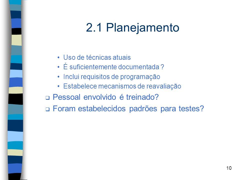 2.1 Planejamento Pessoal envolvido é treinado