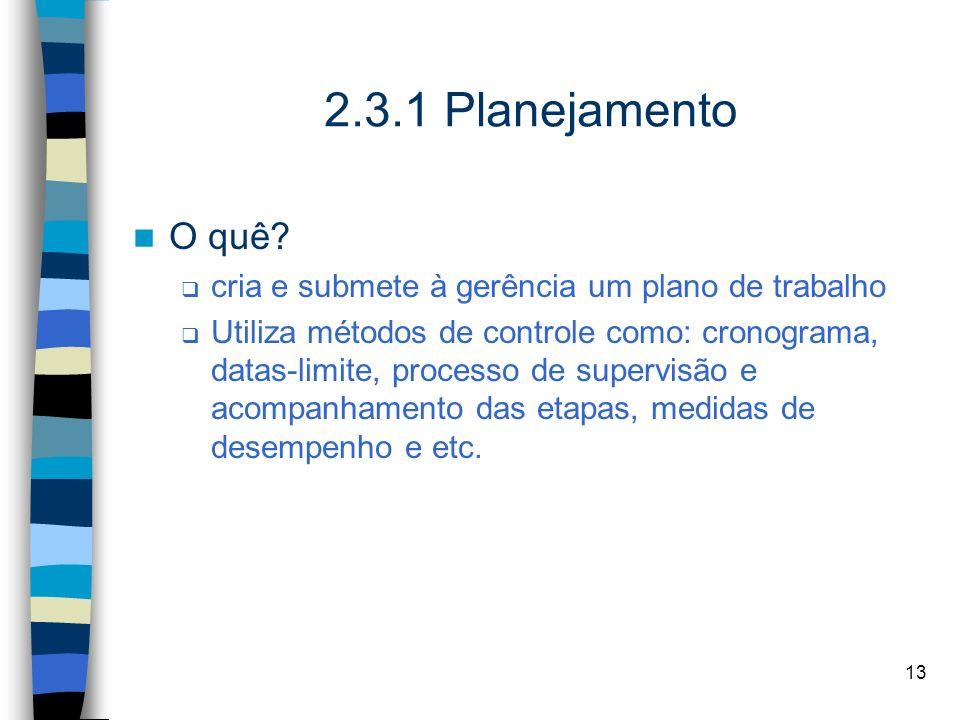 2.3.1 Planejamento O quê cria e submete à gerência um plano de trabalho.