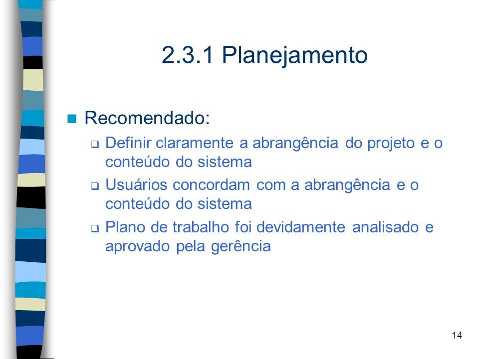 2.3.1 Planejamento Recomendado: