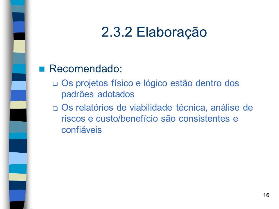 2.3.2 Elaboração Recomendado: