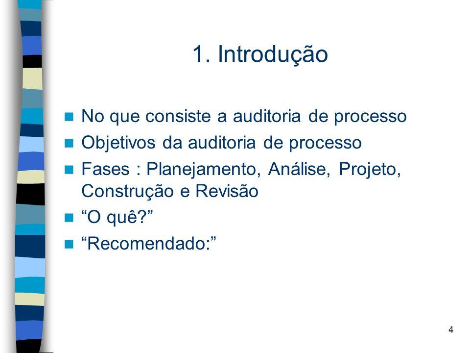 1. Introdução No que consiste a auditoria de processo