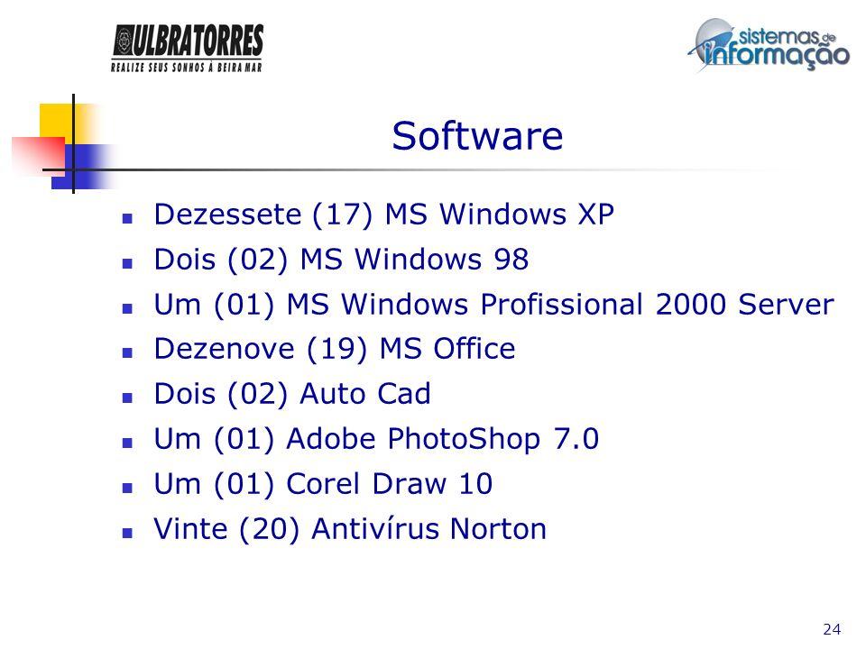 Software Dezessete (17) MS Windows XP Dois (02) MS Windows 98