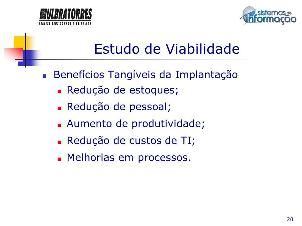 Estudo de Viabilidade Benefícios Tangíveis da Implantação