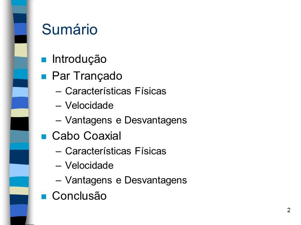Sumário Introdução Par Trançado Cabo Coaxial Conclusão