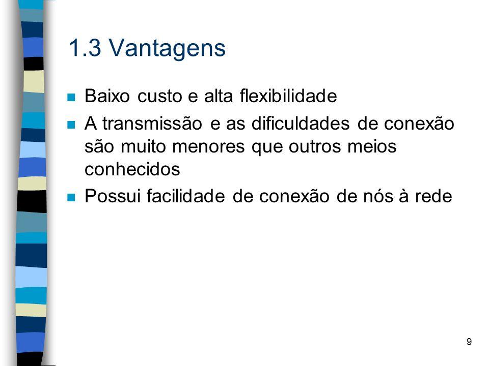 1.3 Vantagens Baixo custo e alta flexibilidade