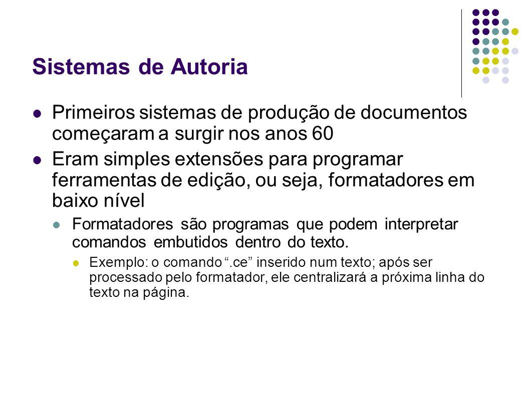 Sistemas de Autoria Primeiros sistemas de produção de documentos começaram a surgir nos anos 60.