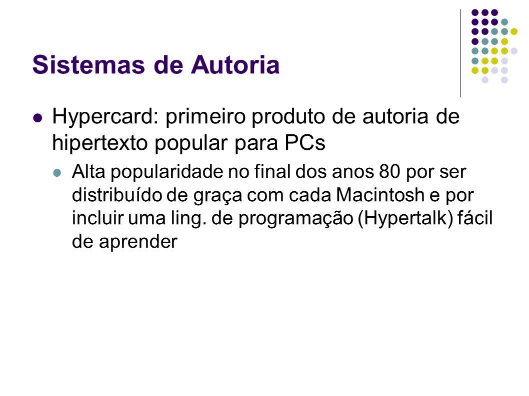 Sistemas de Autoria Hypercard: primeiro produto de autoria de hipertexto popular para PCs.