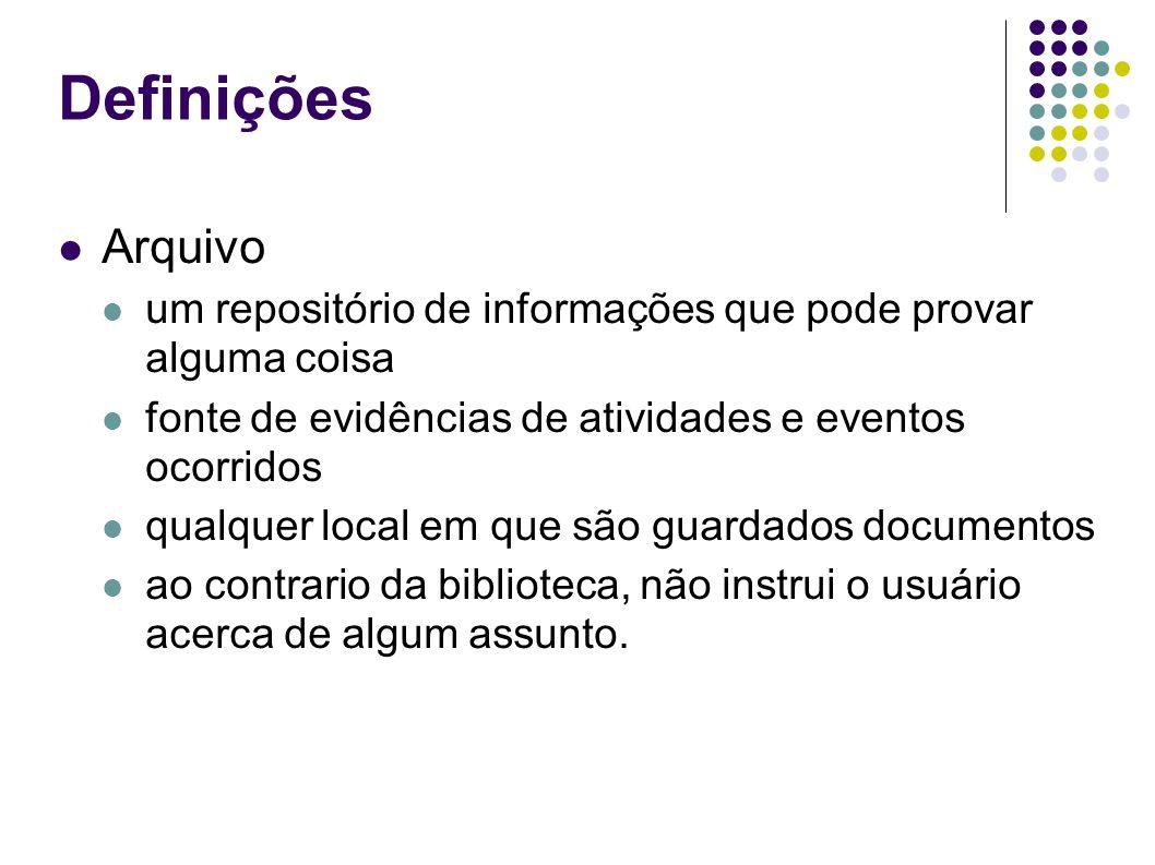 Definições Arquivo. um repositório de informações que pode provar alguma coisa. fonte de evidências de atividades e eventos ocorridos.