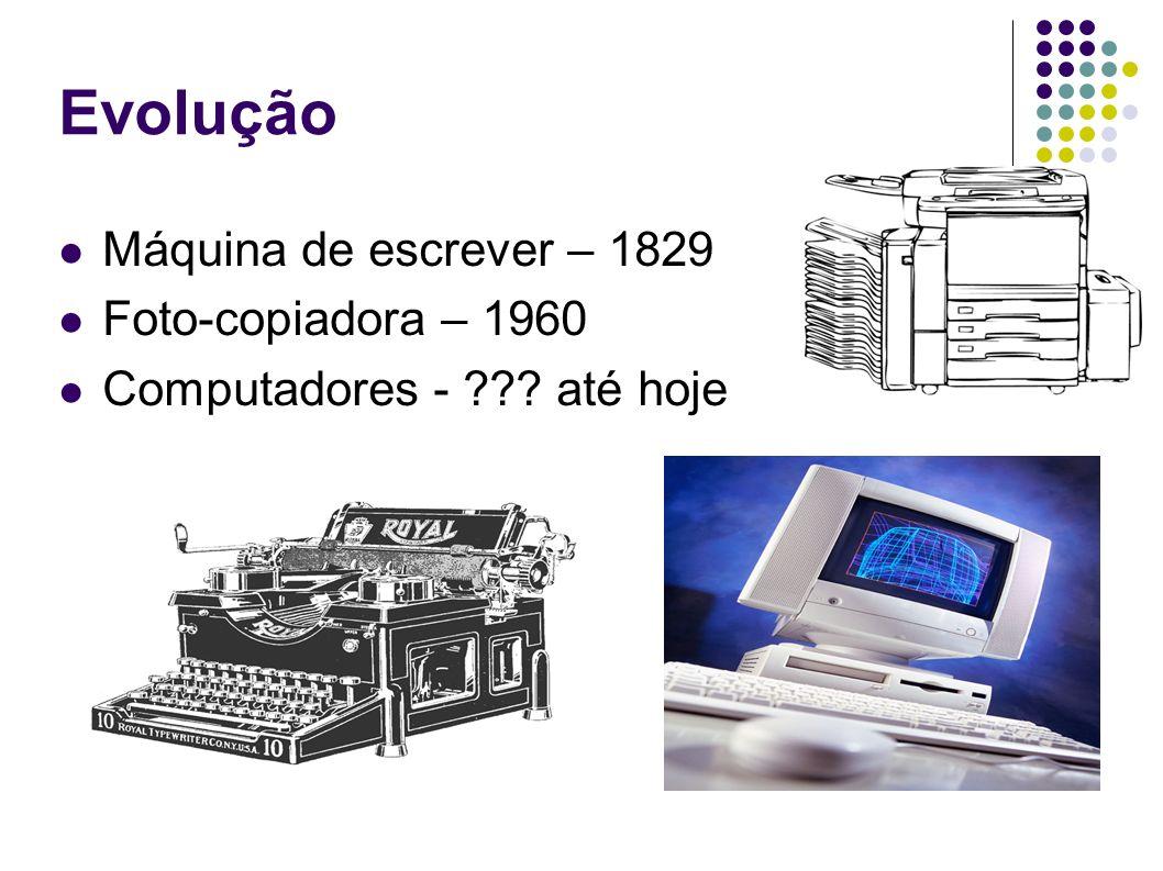 Evolução Máquina de escrever – 1829 Foto-copiadora – 1960
