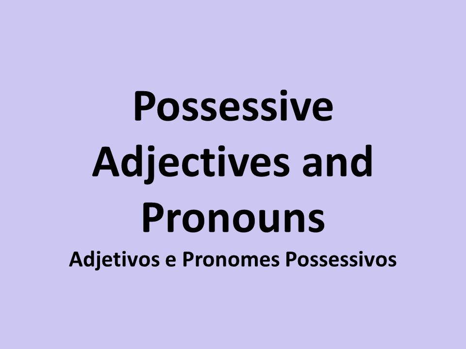 Possessive Adjectives and Pronouns Adjetivos e Pronomes Possessivos