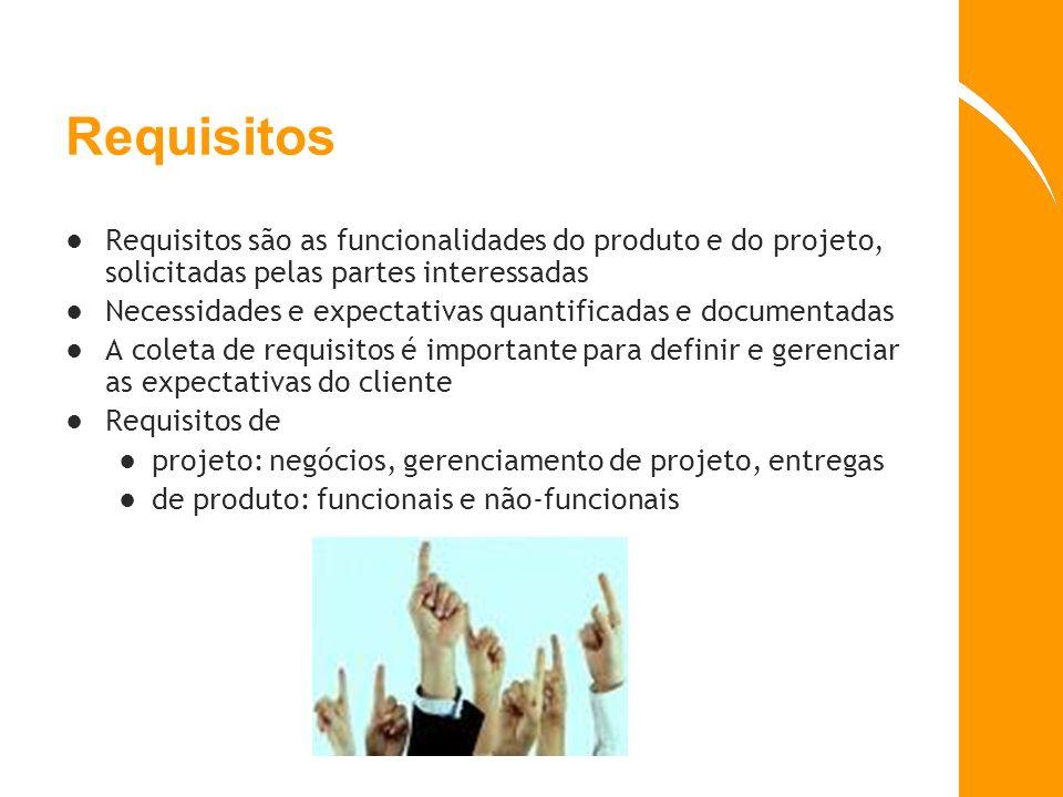 Requisitos Requisitos são as funcionalidades do produto e do projeto, solicitadas pelas partes interessadas.