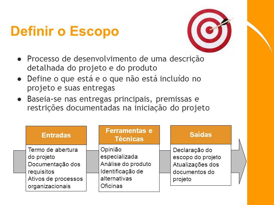 Definir o Escopo Processo de desenvolvimento de uma descrição detalhada do projeto e do produto.