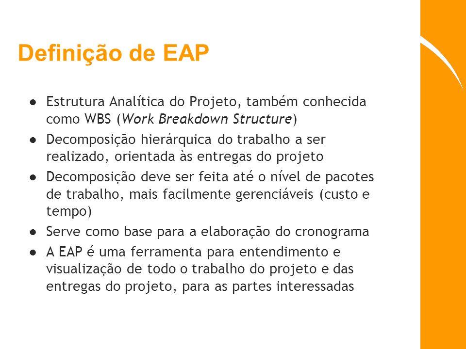 Definição de EAP Estrutura Analítica do Projeto, também conhecida como WBS (Work Breakdown Structure)