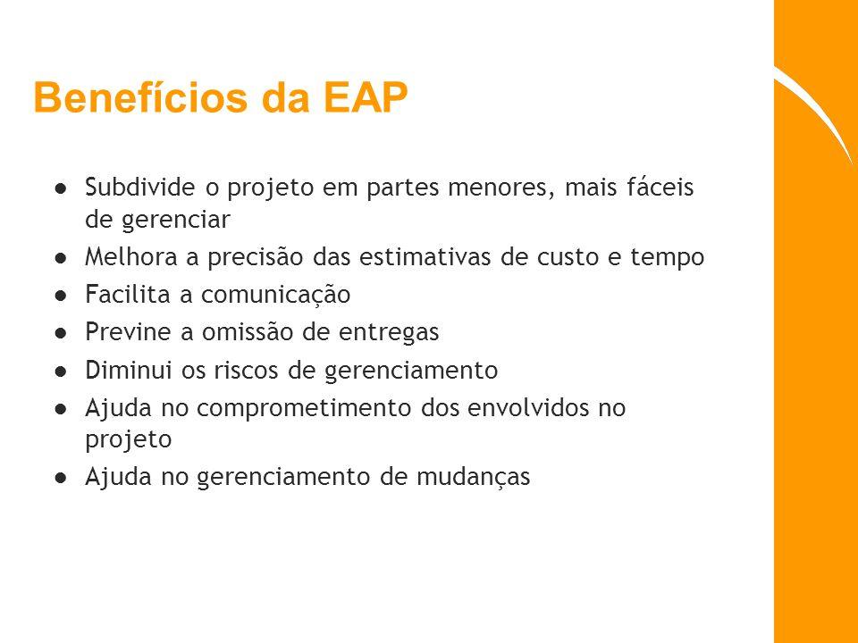Benefícios da EAP Subdivide o projeto em partes menores, mais fáceis de gerenciar. Melhora a precisão das estimativas de custo e tempo.