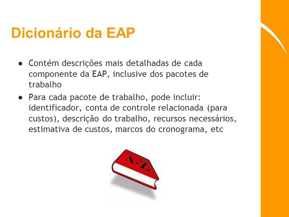 Dicionário da EAP Contém descrições mais detalhadas de cada componente da EAP, inclusive dos pacotes de trabalho.