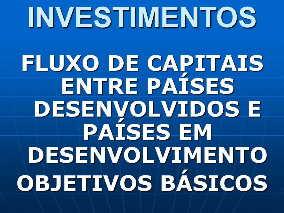 INVESTIMENTOS FLUXO DE CAPITAIS ENTRE PAÍSES DESENVOLVIDOS E PAÍSES EM DESENVOLVIMENTO.