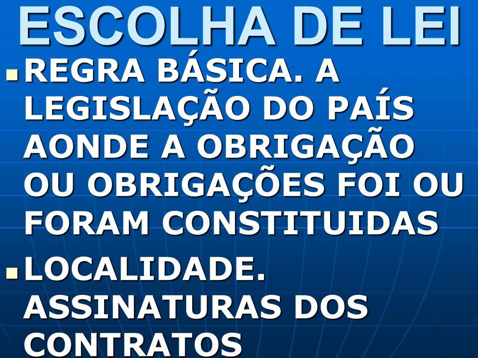 ESCOLHA DE LEI REGRA BÁSICA. A LEGISLAÇÃO DO PAÍS AONDE A OBRIGAÇÃO OU OBRIGAÇÕES FOI OU FORAM CONSTITUIDAS.