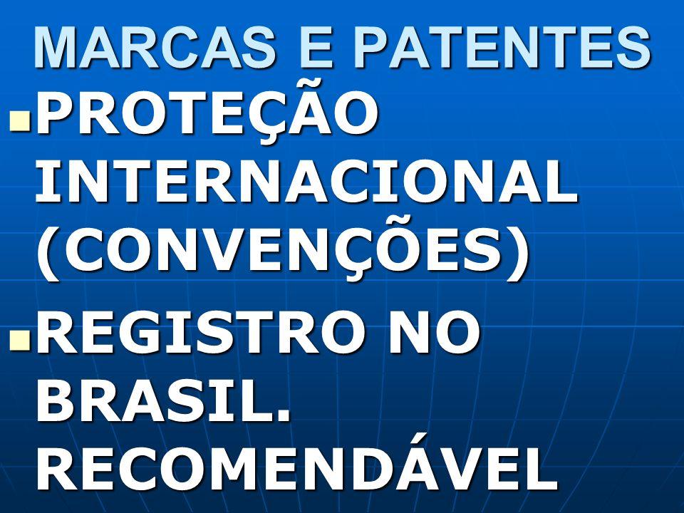 MARCAS E PATENTES PROTEÇÃO INTERNACIONAL (CONVENÇÕES) REGISTRO NO BRASIL. RECOMENDÁVEL