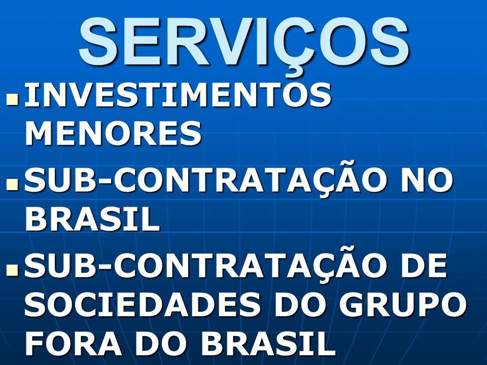 SERVIÇOS INVESTIMENTOS MENORES SUB-CONTRATAÇÃO NO BRASIL