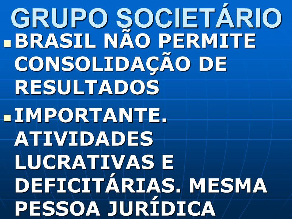 GRUPO SOCIETÁRIO BRASIL NÃO PERMITE CONSOLIDAÇÃO DE RESULTADOS