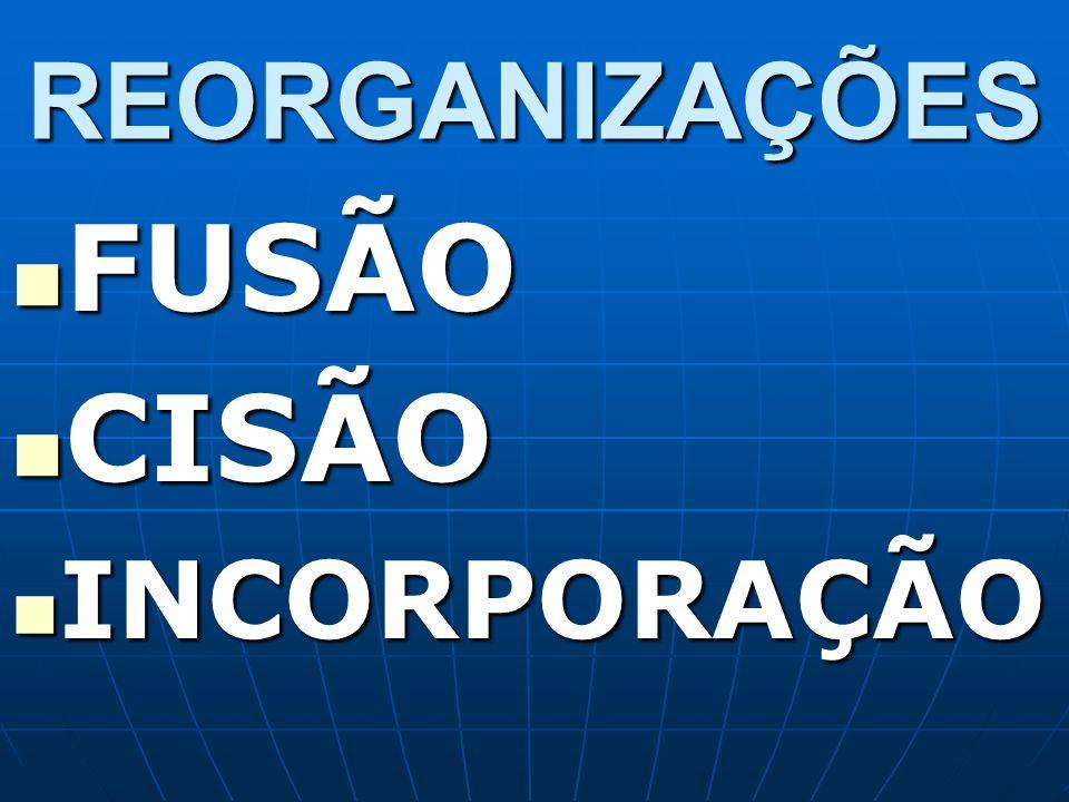REORGANIZAÇÕES FUSÃO CISÃO INCORPORAÇÃO