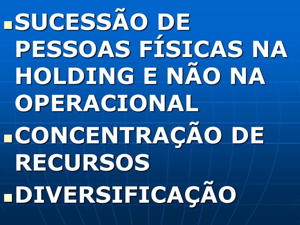 SUCESSÃO DE PESSOAS FÍSICAS NA HOLDING E NÃO NA OPERACIONAL