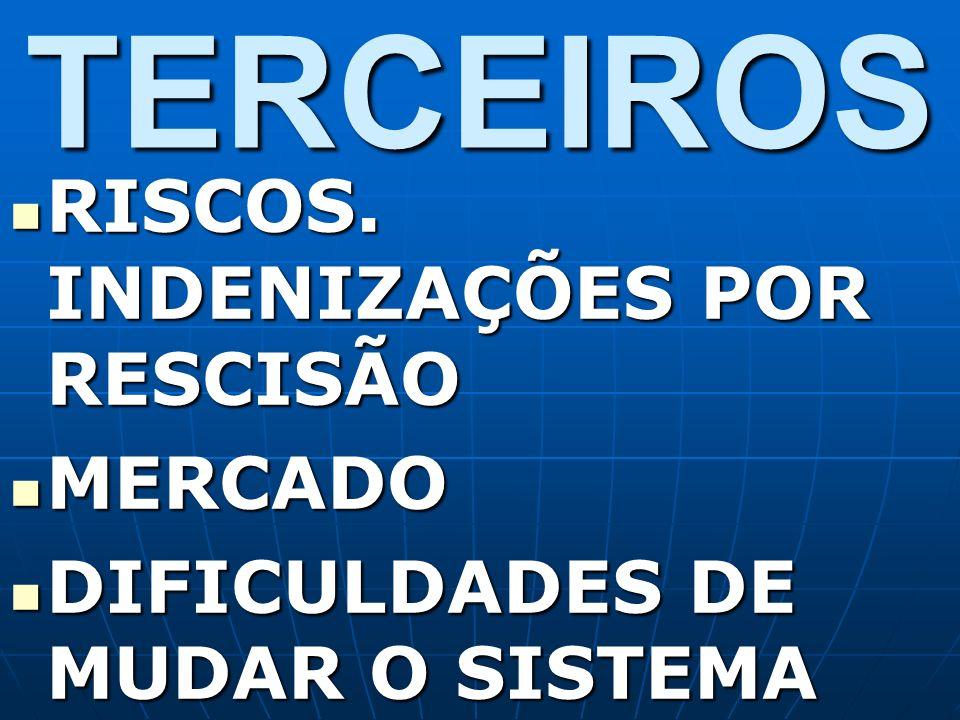 TERCEIROS RISCOS. INDENIZAÇÕES POR RESCISÃO MERCADO