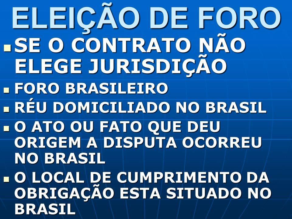 ELEIÇÃO DE FORO SE O CONTRATO NÃO ELEGE JURISDIÇÃO FORO BRASILEIRO