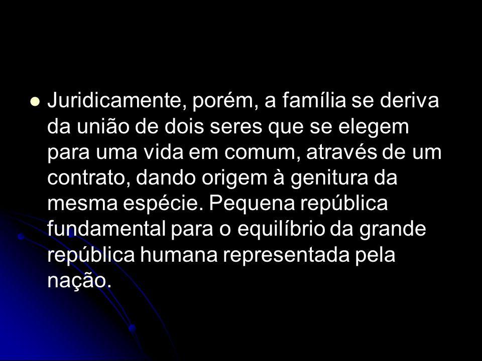 Juridicamente, porém, a família se deriva da união de dois seres que se elegem para uma vida em comum, através de um contrato, dando origem à genitura da mesma espécie.