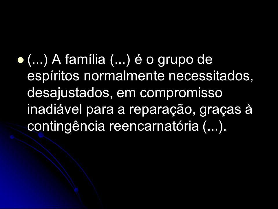 (...) A família (...) é o grupo de espíritos normalmente necessitados, desajustados, em compromisso inadiável para a reparação, graças à contingência reencarnatória (...).
