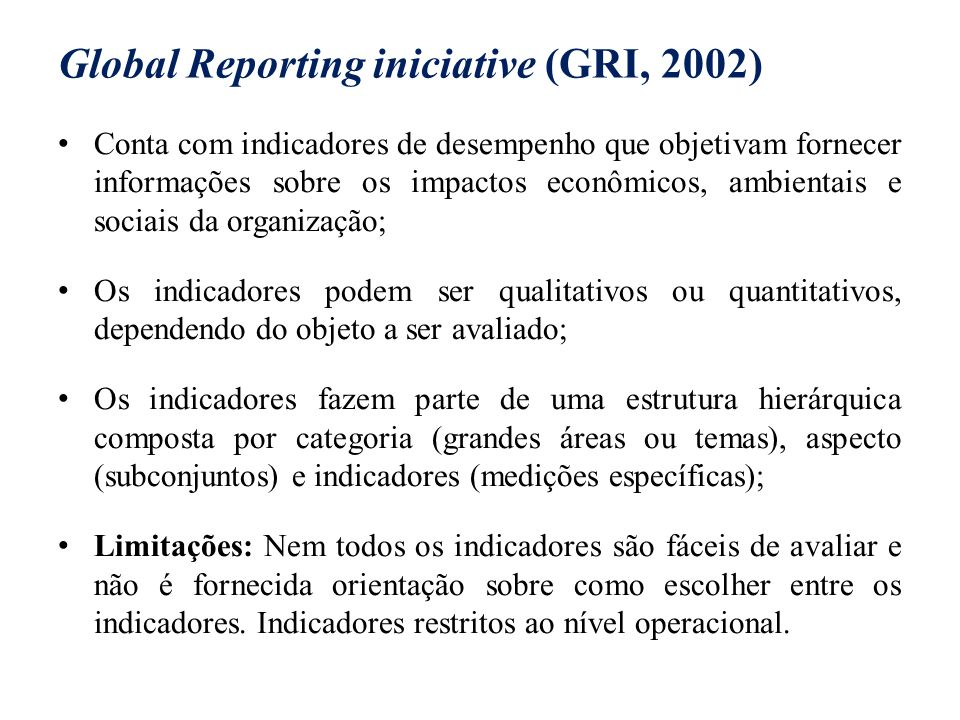 Global Reporting iniciative (GRI, 2002)