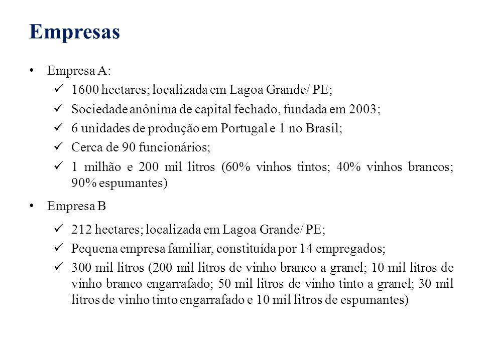 Empresas Empresa A: 1600 hectares; localizada em Lagoa Grande/ PE;