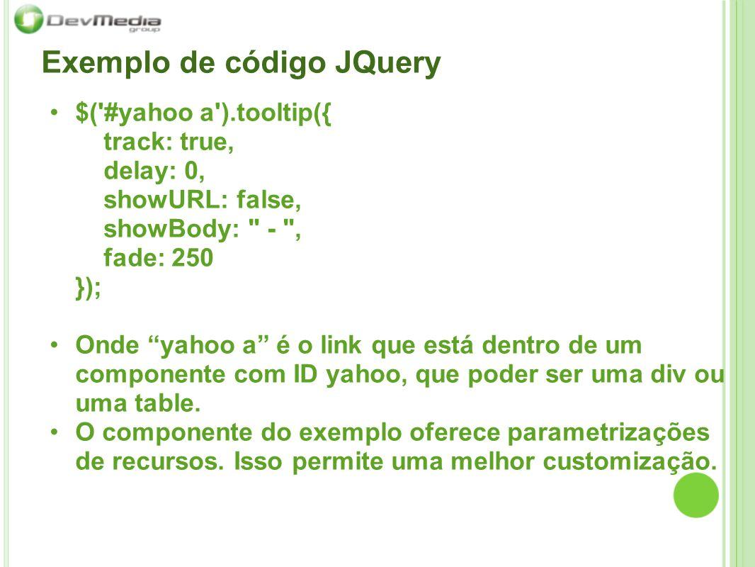 Exemplo de código JQuery