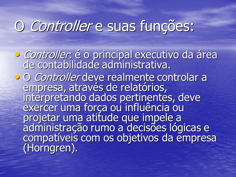 O Controller e suas funções: