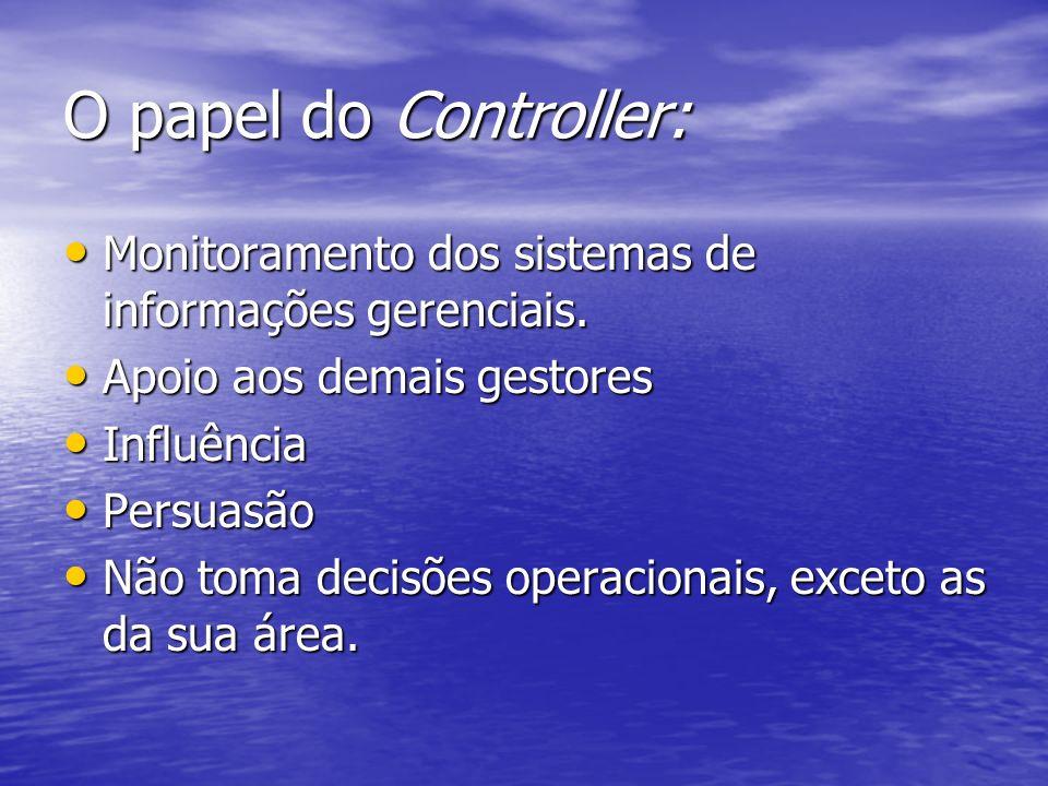 O papel do Controller: Monitoramento dos sistemas de informações gerenciais. Apoio aos demais gestores.