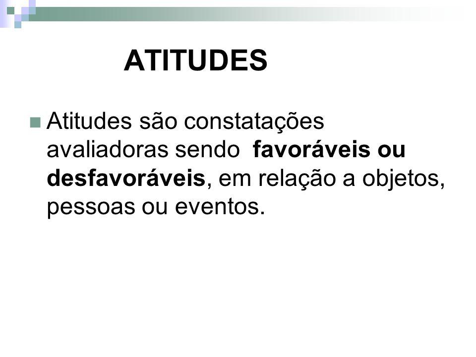ATITUDESAtitudes são constatações avaliadoras sendo favoráveis ou desfavoráveis, em relação a objetos, pessoas ou eventos.