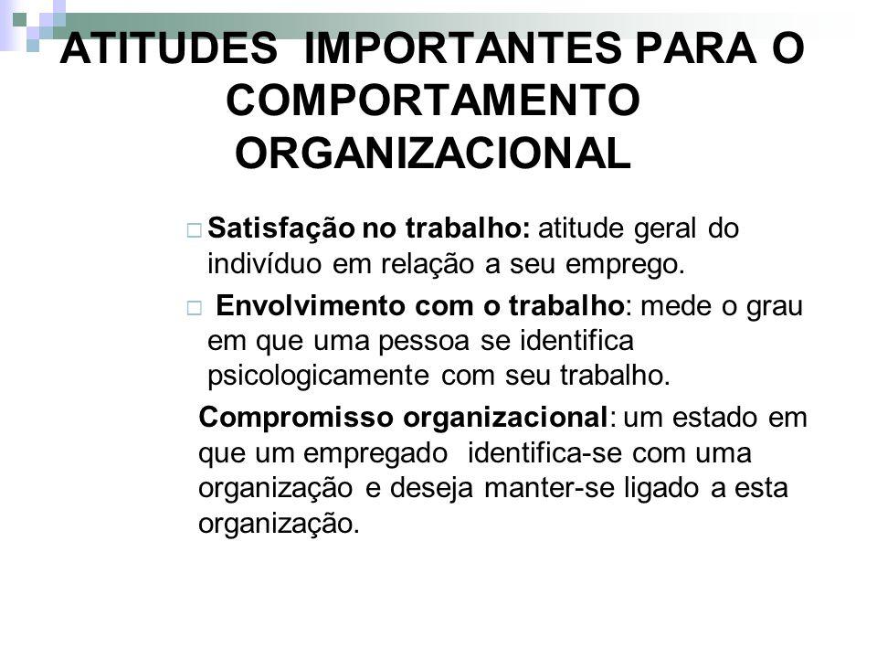 ATITUDES IMPORTANTES PARA O COMPORTAMENTO ORGANIZACIONAL