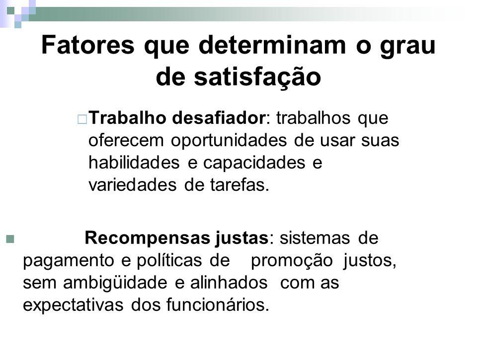 Fatores que determinam o grau de satisfação
