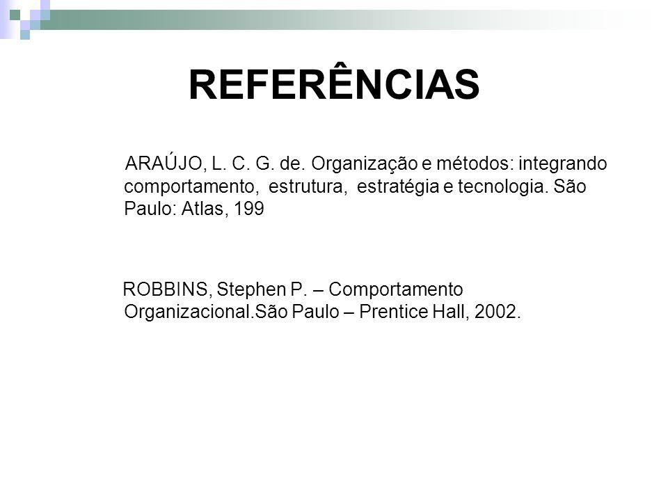 REFERÊNCIASARAÚJO, L. C. G. de. Organização e métodos: integrando comportamento, estrutura, estratégia e tecnologia. São Paulo: Atlas, 199.