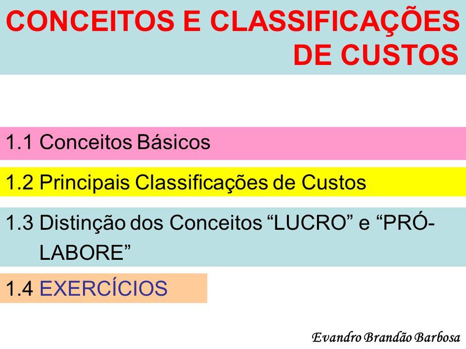 CONCEITOS E CLASSIFICAÇÕES DE CUSTOS