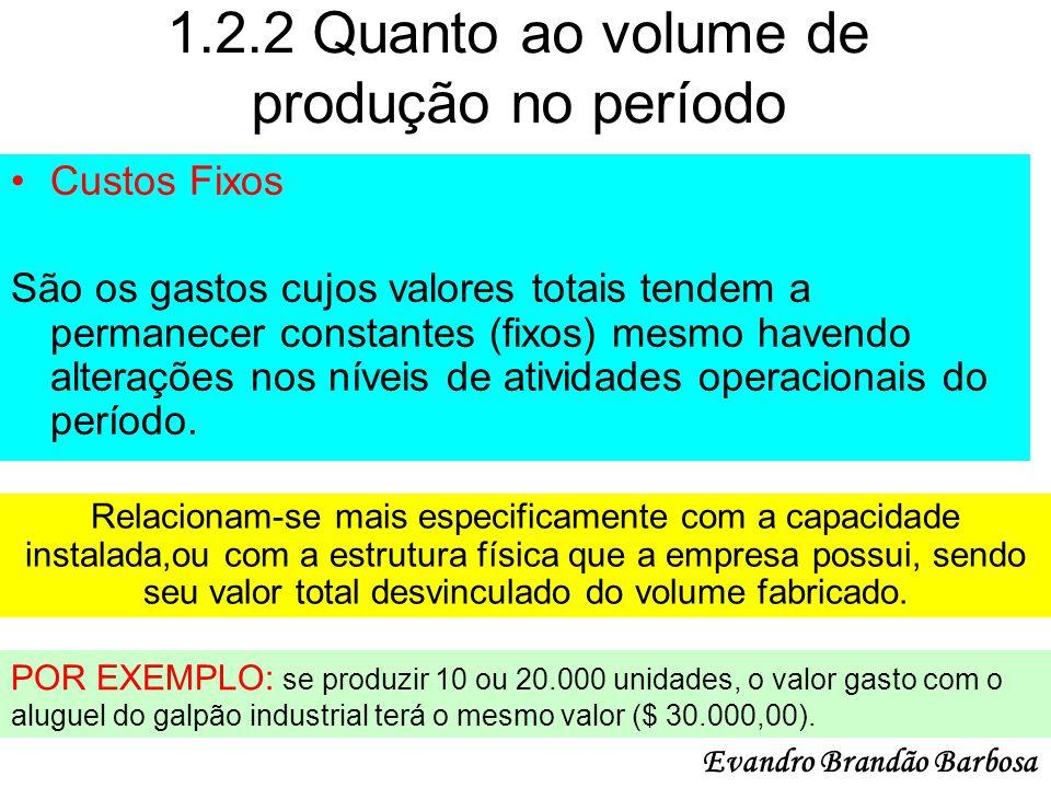 1.2.2 Quanto ao volume de produção no período