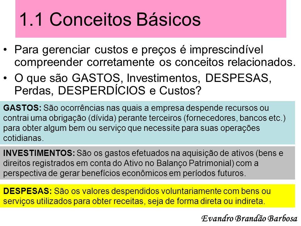 1.1 Conceitos Básicos Para gerenciar custos e preços é imprescindível compreender corretamente os conceitos relacionados.