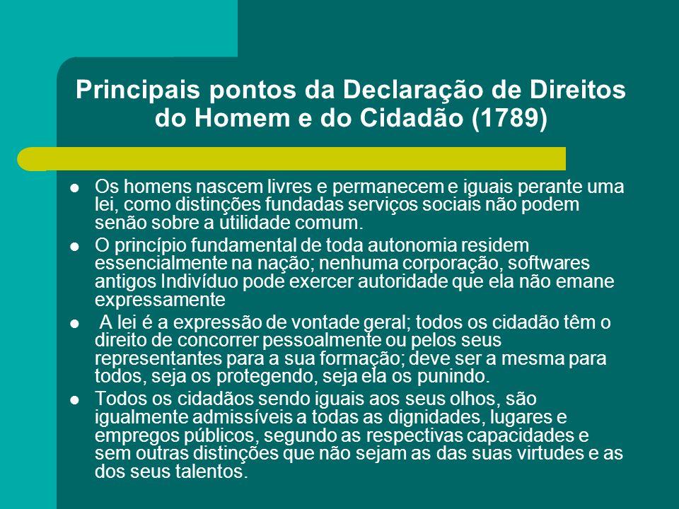 Principais pontos da Declaração de Direitos do Homem e do Cidadão (1789)